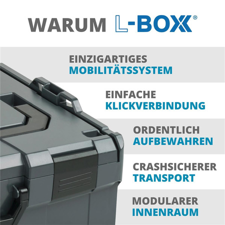 BOSCH SORTIMO Systembox L-BOXX 102 grau & Insetboxen-Set CD3 & Deckelpolster